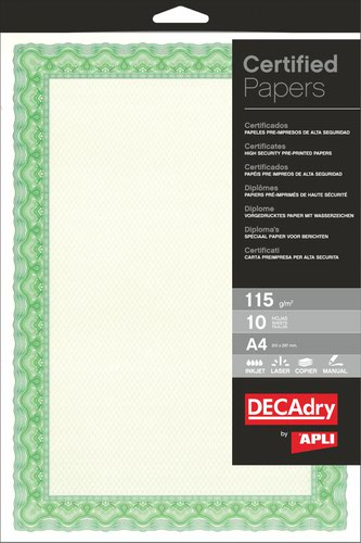 Decadry A4 Certificate Paper Shell Emerald Green Pack of 25