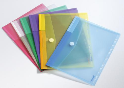 Tarifold Punched Wallets Polypropylene A4 Assorted Colours (Pack 12)