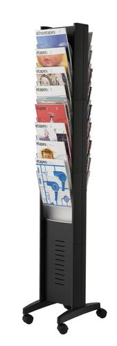 Fast Paper Literature Display Floor Standing 16 Compartment A4 Double Sided Black