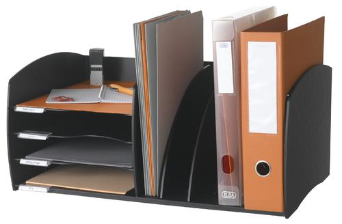 Fast Paper Desktop Organiser 4 Compartments Black F302001