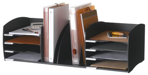 Fast Paper Desktop Organiser 8 Compartments Black F302201
