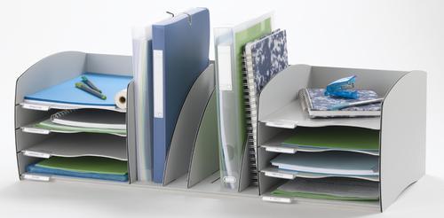 Fast Paper Desktop Organiser 8 Compartments Grey F3022212