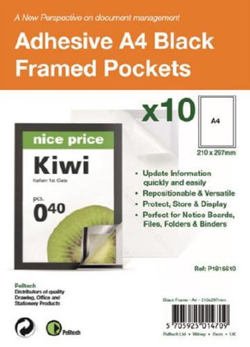 S/Adhesive A4 Black Display Frames w/ Magnetic Closure Pk10