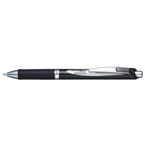 Pentel EnerGel XM Retractable Permanent Ink Gel Rollerball Pen 0.7mm Tip 0.35mm Line Black (Pack 12)