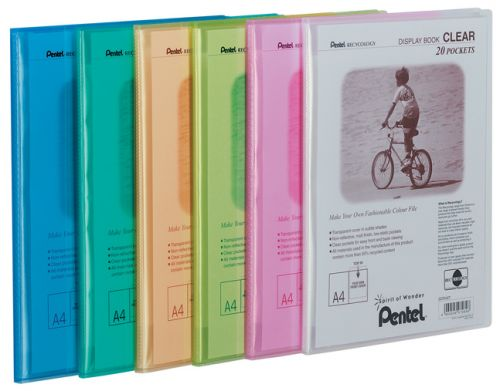 Pentel Recycology A4 Display Book Clear 20 Pocket Assorted Colours (Pack 5)