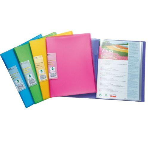 Pentel Recycology Vivid A4 Display Book 30Pockets Asst PK5