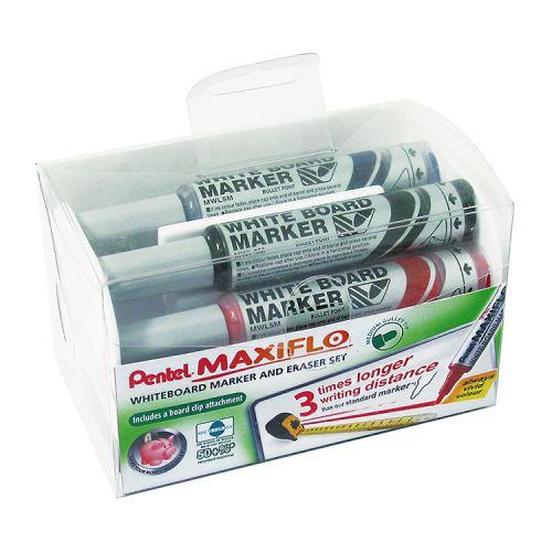 Pentel Bullet Marker & Eraser Set Assorted PK4