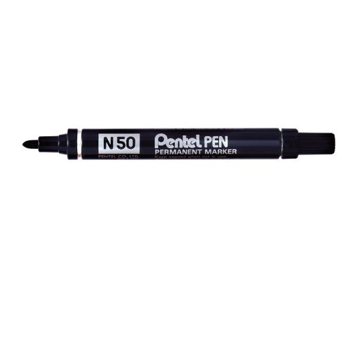 Pentel N50 Permanent Bullet Marker Broad Black (Pack of 12) N50-A