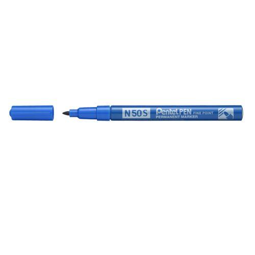 Pentel N50S-C Fine Tip Bullet Marker Pen Blue PK12