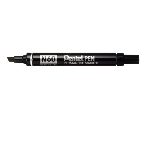 Pentel N60 Permanent Marker Chisel Tip Black (Pack of 12) N60-A