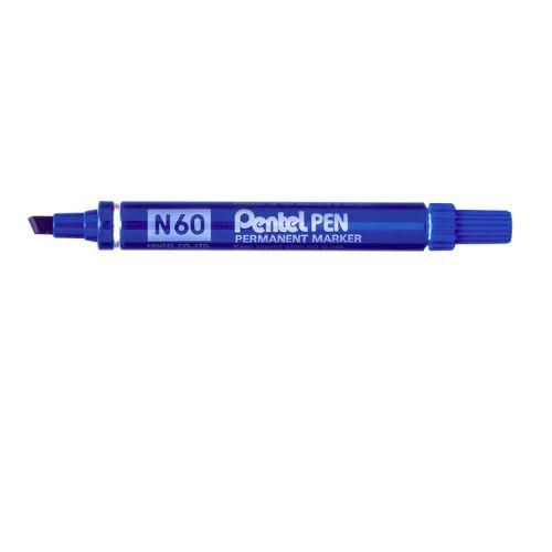 Pentel N60 Permanent Marker Chisel Tip 3.9-5.7mm Line Blue (Pack 12)