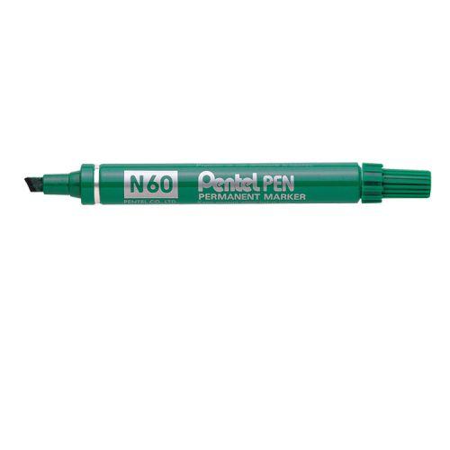 Pentel N60 Permanent Marker Chisel Tip 3.9-5.7mm Line Green (Pack 12)