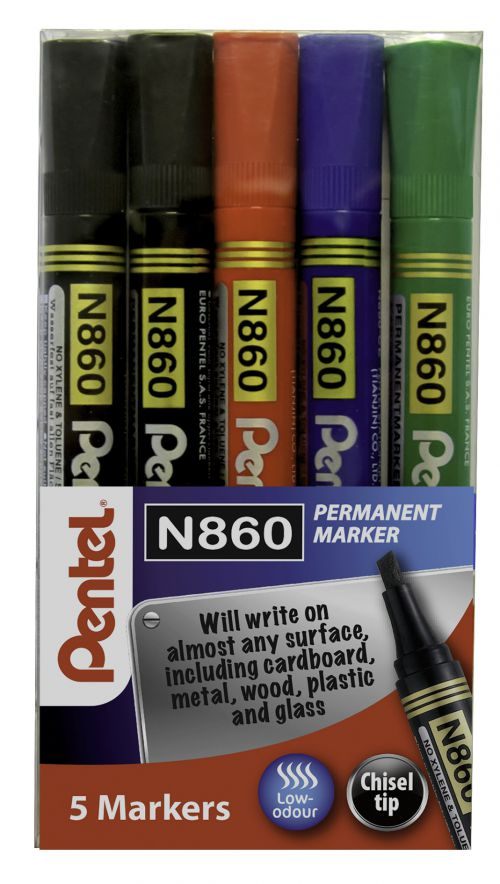 Pentel Chisel Tip Permanent Marker Assorted (Pack of 5) YN860/5-M