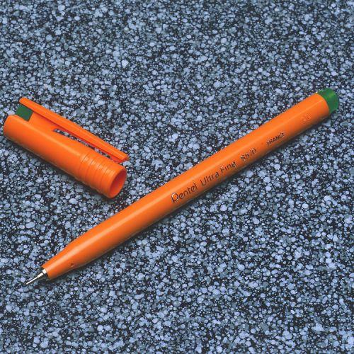 Pentel Ultra Fine Fineliner Pen 0.6mm Tip 0.3mm Line Green (Pack 12)