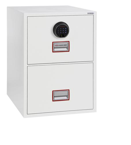 Phoenix Vertical Fire File 2 Drawer Filing Cabinet Finger Lock White FS2252F