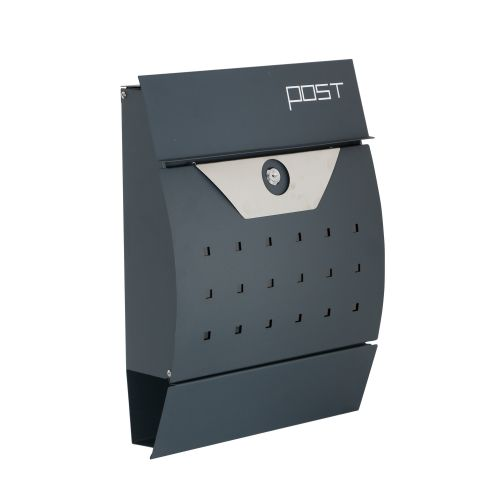 Phoenix Estilo Front Loading Letter Box MB0122KA in Graphite Grey with Key Lock