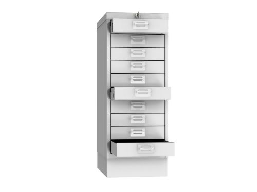 Phoenix MD Series MD0604G 10 Drawer Multidrawer Cabinet in Grey with Key Lock