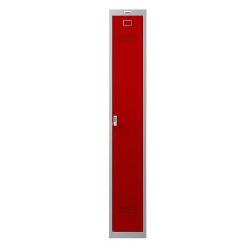 Phoenix PL Series PL1130GRE 1 Column 1 Door Personal Locker Grey Body/Red Door with Electronic Lock