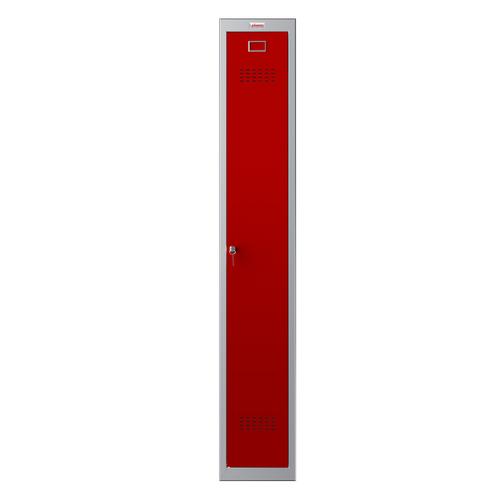 Phoenix PL Series PL1130GRK 1 Column 1 Door Personal Locker Grey Body/Red Door with Key Lock