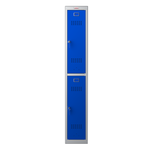 Phoenix PL Series PL1230GBK 1 Column 2 Door Personal Locker Grey Body/Blue Doors with Key Locks