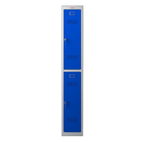 Phoenix PL Series PL1230GBK 1 Column 2 Door Personal Locker Grey Body/Blue Doors with Key Locks