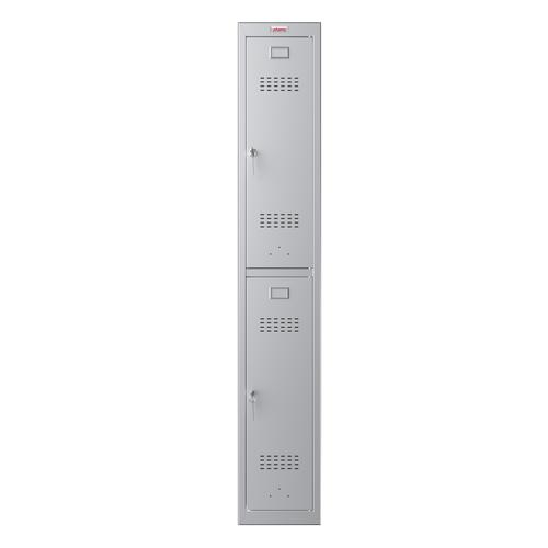 Phoenix PL Series PL1230GGK 1 Column 2 Door Personal Locker in Grey with Key Locks