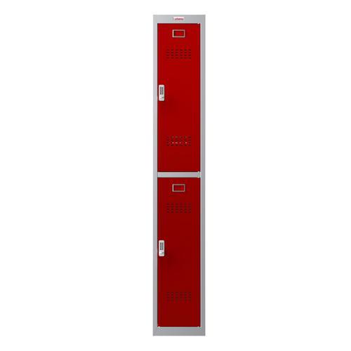 Phoenix PL Series PL1230GRE 1 Column 2 Door Personal Locker Grey Body/Red Doors with Electronic Locks