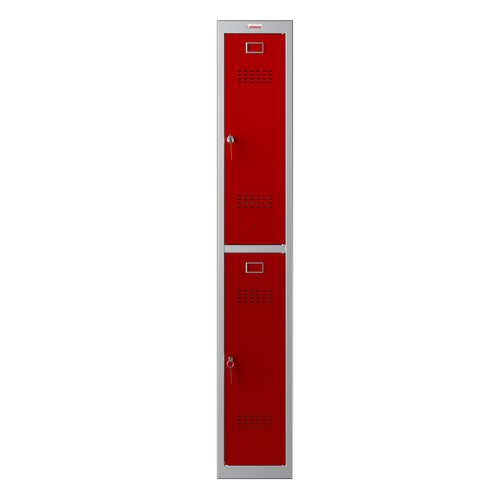 Phoenix PL Series PL1230GRK 1 Column 2 Door Personal Locker Grey Body/Red Doors with Key Locks