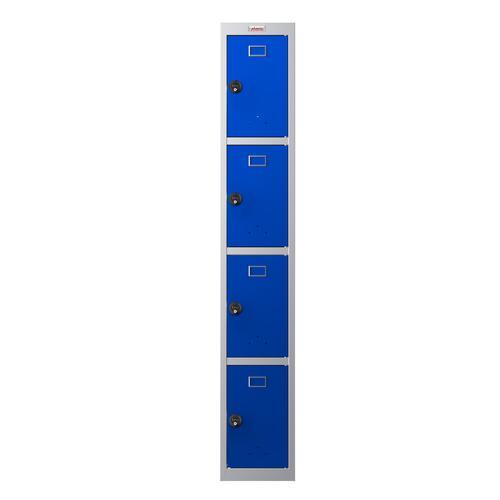 Phoenix PL Series PL1430GBC 1 Column 4 Door Personal Locker Grey Body/Blue Doors with Combination Lock