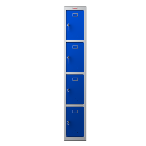 Phoenix PL Series PL1430GBK 1 Column 4 Door Personal Locker Grey Body/Blue Doors with Key Lock