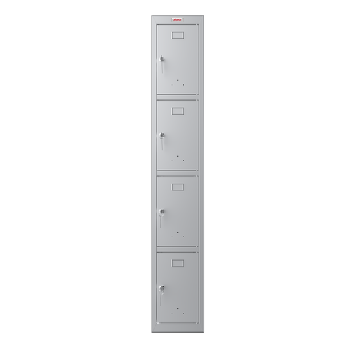 Phoenix PL Series PL1430GGK 1 Column 4 Door Personal locker in Grey with Key Locks