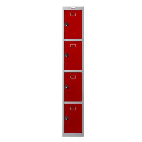 Phoenix PL Series PL1430GRC 1 Column 4 Door Personal Locker Grey Body/Red Doors with Combination Locks