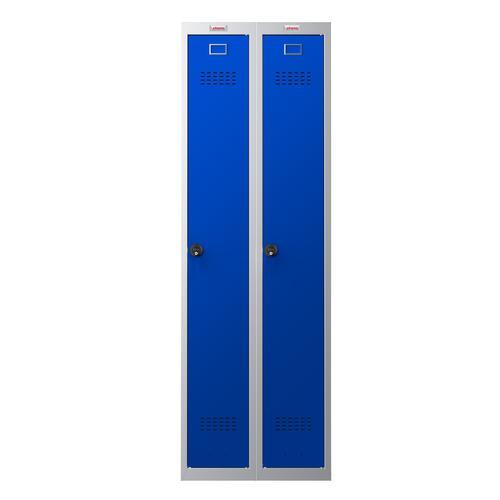 Phoenix PL Series PL2160GBC 2 Column 2 Door Personal Locker Combo Grey Body/Blue Doors with Combination Locks