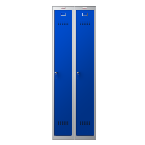 Phoenix PL Series PL2160GBK 2 Column 2 Door Personal Locker Combo Grey Body/Blue Doors with key Locks