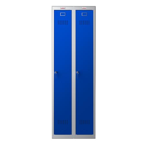 Phoenix PL Series PL2160GBK 2 Column 2 Door Personal Locker Combo Grey Body/Blue Doors with key Locks