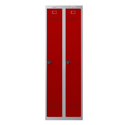 Phoenix PL Series PL2160GRC 2 Column 2 Door Personal Locker Combo Grey Body/Red Doors with Combination Locks
