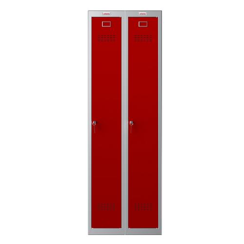 Phoenix PL Series PL2160GRK 2 Column 2 Door Personal Locker Combo Grey Body/Red Doors with key Locks