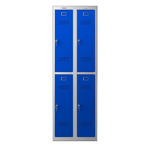 Phoenix PL Series PL2260GBK 2 Column 4 Door Personal Locker Combo Grey Body/Blue Doors with Key Locks