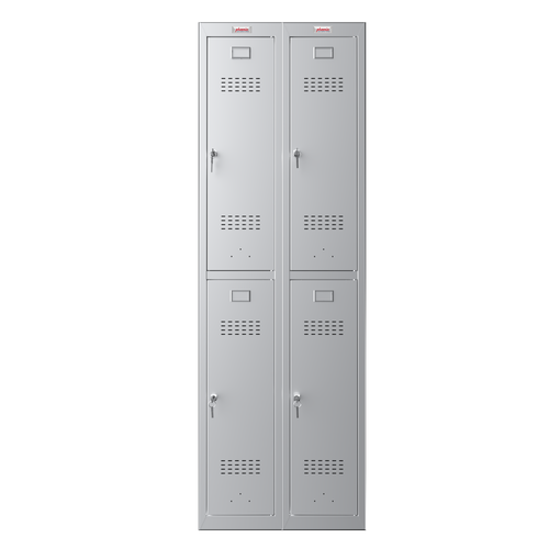 Phoenix PL Series PL2260GGK 2 Column 4 Door Personal Locker Combo in Grey with Key Locks