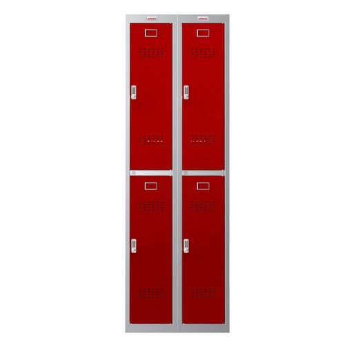 Phoenix PL Series PL2260GRE 2 Column 4 Door Personal Locker Combo Grey Body/Red Doors with Electronic Locks