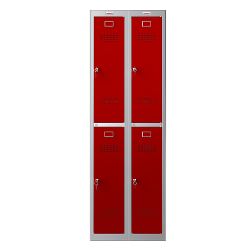 Phoenix PL Series PL2260GRK 2 Column 4 Door Personal Locker Combo Grey Body/Red Doors with Key Locks
