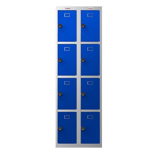 Phoenix PL Series PL2460GBC 2 Column 8 Door Personal Locker Combo Grey Body/Blue Doors with Combination Locks