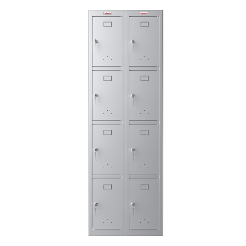 Phoenix PL Series PL2460GGK 2 Column 8 Door Personal Locker Combo in Grey with Key Locks