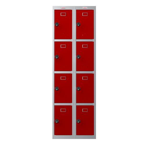 Phoenix PL Series PL2460GRC 2 Column 8 Door Personal Locker Combo Grey Body/Red Doors with Combination Locks