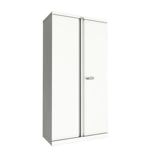 Phoenix SC Series SC1891WE 2 Door 4 Shelf Stationery Cupboard in White with Electronic Lock