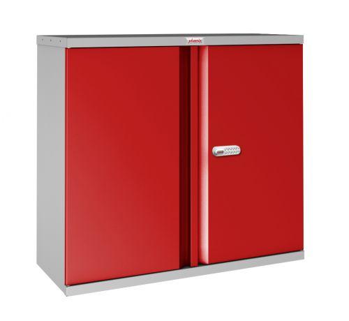 Phoenix SCL Series SCL0891GRE 2 Door 1 Shelf Steel Storage Cupboard Grey Body & Red Doors with Electronic Lock