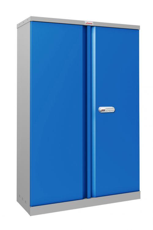 Phoenix SCL Series SCL1491GBE 2 Door 3 Shelf Steel Storage Cupboard Grey Body & Blue Doors with Electronic Lock