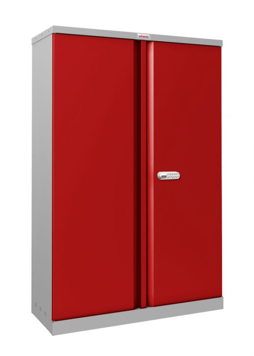 Phoenix SCL Series SCL1491GRE 2 Door 3 Shelf Steel Storage Cupboard Grey Body & Red Doors with Electronic Lock