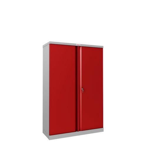 Phoenix SCL Series SCL1491GRK 2 Door 3 Shelf Steel Storage Cupboard Grey Body & Red Doors with Key Lock