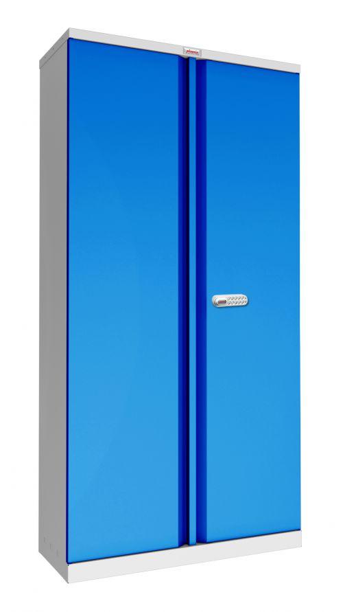 Phoenix SCL Series SCL1891GBE 2 Door 4 Shelf Steel Storage Cupboard Grey Body & Blue Doors with Electronic Lock